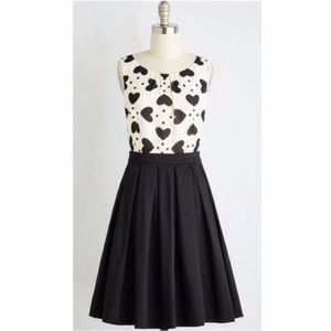 ModCloth black and white heart dress